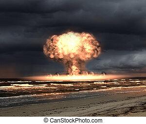 nucleair, buiten, ontploffing, vatting