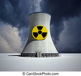 Nuclear - 3D rendering of a nuclear power station