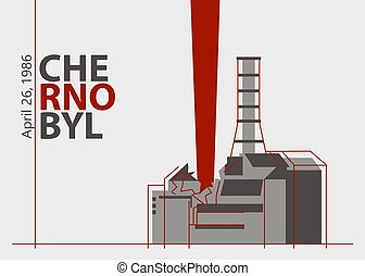 Nuclear accident at the Chernobyl plant near Pripyat, Ukraine, in the Soviet Union, on April 26, 1986. An explosion of the nuclear reactor. Vector illustration, eps8