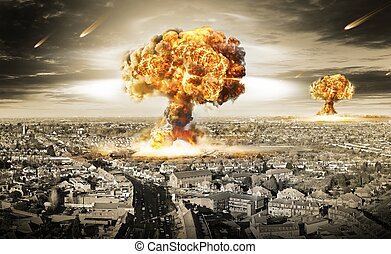 Danger of nuclear war illustration with multiple explosions