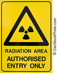 nuclear, aviso, radiação, sinal
