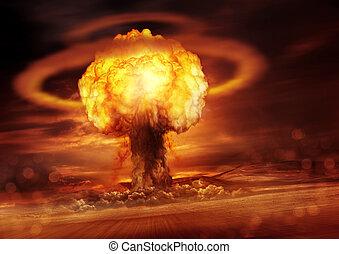 Nuclear Bomb Detonation - A nuclear bomb explosion causing ...