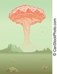 Nuclear bomb explosion in the desert. Mushroom cloud. Vector illustration.