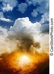 Nuclear bomb explosion - Mushroom cloud from nuclear bomb...