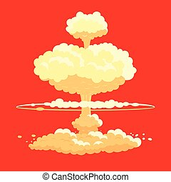 Nuclear bomb explosion vector background