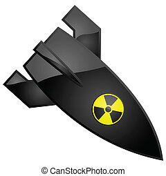 Nuclear bomb - Glossy illustration of a nuclear bomb, with...