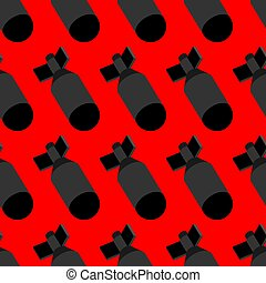 Nuclear Bomb pattern seamless. Torpedo bombshell background...