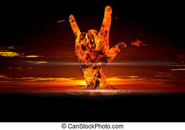 Nuclear booming with love on hand sign, Energy love every...
