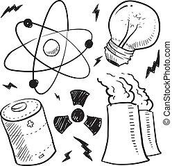 nuclear, bosquejo, objetos, potencia
