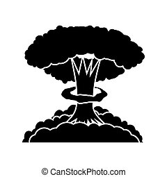 Nuclear Burst. Cartoon Bomb Explosion. Radioactive Atomic Power. Symbol of War. Big Mushroom Cloud.