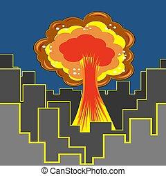 Nuclear Burst in City. Cartoon Bomb Explosion in Downtown. Radioactive Atomic Power. Symbol of War. Big Mushroom Cloud