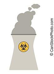 nuclear, chaminé, ícone