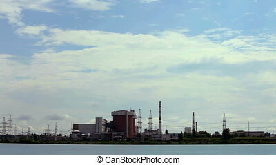 Nuclear complex near lake - A huge corps of nuclear power...