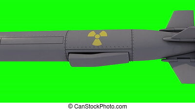 Nuclear Cruise missile isolated on green background. 3D render