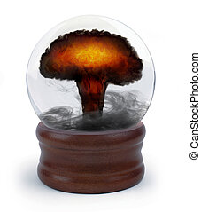 nuclear crystal ball - nuclear mushroom cloud appearing...