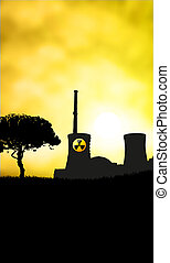 Nuclear danger sunset with place for text