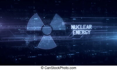 Nuclear energy symbol hologram 3d animation. Modern concept of science, danger icon and warning on blue digital background.