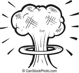 nuclear, esboço, cogumelo