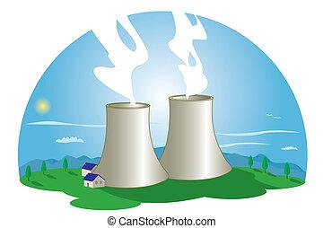 nuclear, estação, poder
