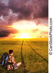 Nuclear explosion and the young man