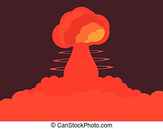 Nuclear explosion. Atomic bomb. Vector illustration