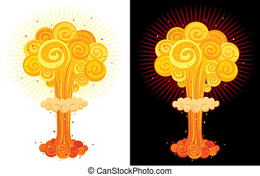 Nuclear Explosion - Cartoon nuclear explosion. No ...