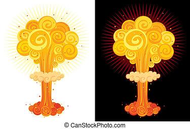 Nuclear Explosion - Cartoon nuclear explosion. No ...