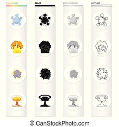 Nuclear explosion, flash, flame. Various types of explosions set collection icons in cartoon black monochrome outline style vector symbol stock illustration web.