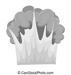 Nuclear explosion icon in monochrome style isolated on white background. Explosions symbol stock bitmap, raster illustration.