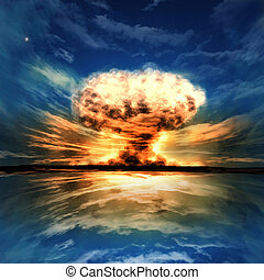 Nuclear explosion in an outdoor setting. Symbol of...