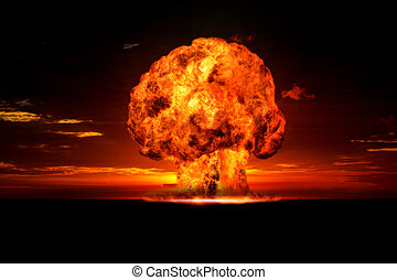 Nuclear explosion in an outdoor set