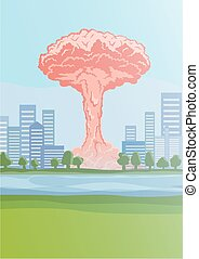 Nuclear explosion in the city, mushroom clouds. Vector Illustration.