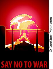 Nuclear Explosion in the city. Pakistan Say no to war. Cartoon Retro poster. Vector illustration.