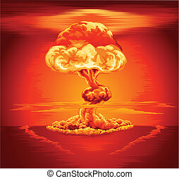 Nuclear explosion mushroom cloud - Illustration of a...