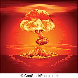 Nuclear explosion mushroom cloud - Illustration of a...