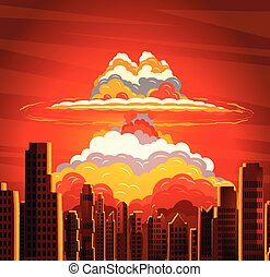 Nuclear explosion, radioactive cloud on city