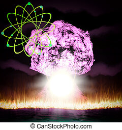 Nuclear explosion with symbol of atomic energy 3d rendering