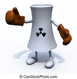 nuclear factory with arms and legs boxing