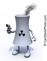 nuclear factory with arms, legs and weapon on hand