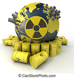 Nuclear hazard - 3D rendering of the Earth with nuclear...