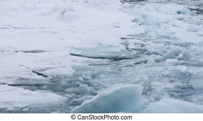 Nuclear icebreaker goes to North pole. Broken ice behind