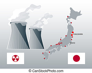 Nuclear Japan - Japan nuclear power stations map with...