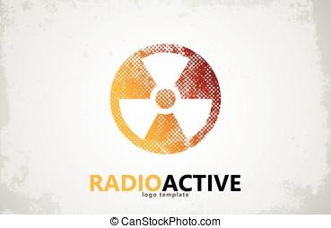nuclear, logo., radioactivo, logotipo, design., símbolo de...