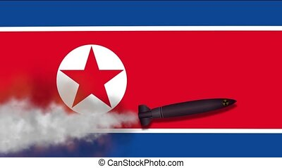 Nuclear Missile on the Background Flag of North Korea....