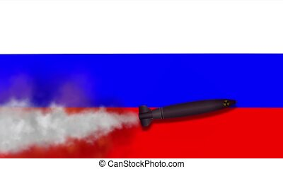 Nuclear Missile on the Background Flag of Russia. Weapons of...