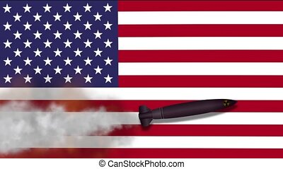 Nuclear Missile on the Background Flag of USA. Weapons of...