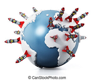 Nuclear missiles standing on world map. 3D illustration