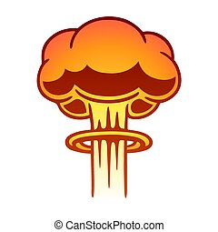 Nuclear mushroom cloud - Cartoon comic style nuclear...