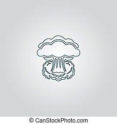 nuclear, nuvem, silueta, cogumelo, explosão