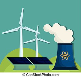 nuclear plant icon - nuclear plant, solar panels and eolic...